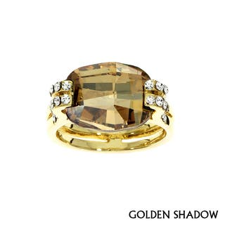 Isla Simone - Gold Plated Cushion Cut Ring with Assorted Color Austrian Crystal|https://ak1.ostkcdn.com/images/products/11325333/P18301881.jpg?impolicy=medium