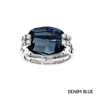 Isla Simone Rhodium Plated Cushion Cut Ring with Assorted Color Austrian Crystal
