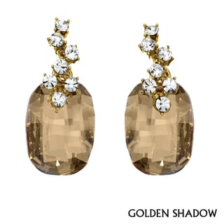 Isla Simone Yellow Goldplated Austrian Crystal And White Crystal Earrings