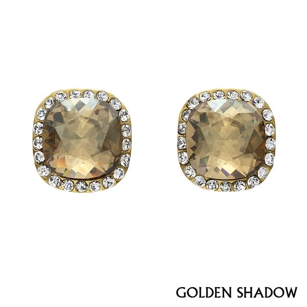 Isla Simone - Gold Plated Earring with Assorted Color Austrian Crystal & White Crystal