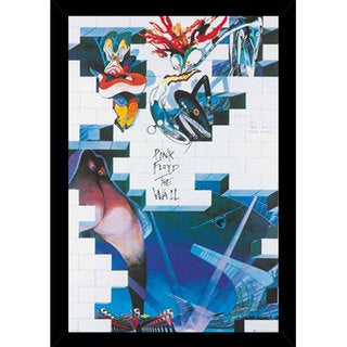 Pink Floyd The Wall Print (24-inch x 36-inch) with Traditional Black Wood Frame