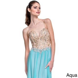 Terani Couture Women's Chiffon Strapless Prom Gown