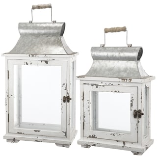 Off-white Metal Lanterns (Set of 2)