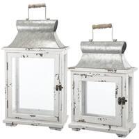Off-white Metal Lanterns (Set of 2)