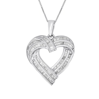 Sterling Silver 1ct TDW Baguette-cut Diamond Heart Pendant Necklace (I-J, I2-I3)