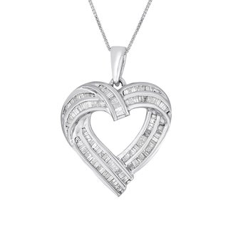 Sterling Silver 1ct TDW Baguette-cut Diamond Heart Pendant Necklace