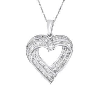 Sterling Silver 1ct TDW Diamond Heart Pendant Necklace (I-J, I2-I3)