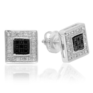 Sterling Silver 1/6ct TDW Black and White Diamond Square Stud Earrings (I-J, I2-I3)