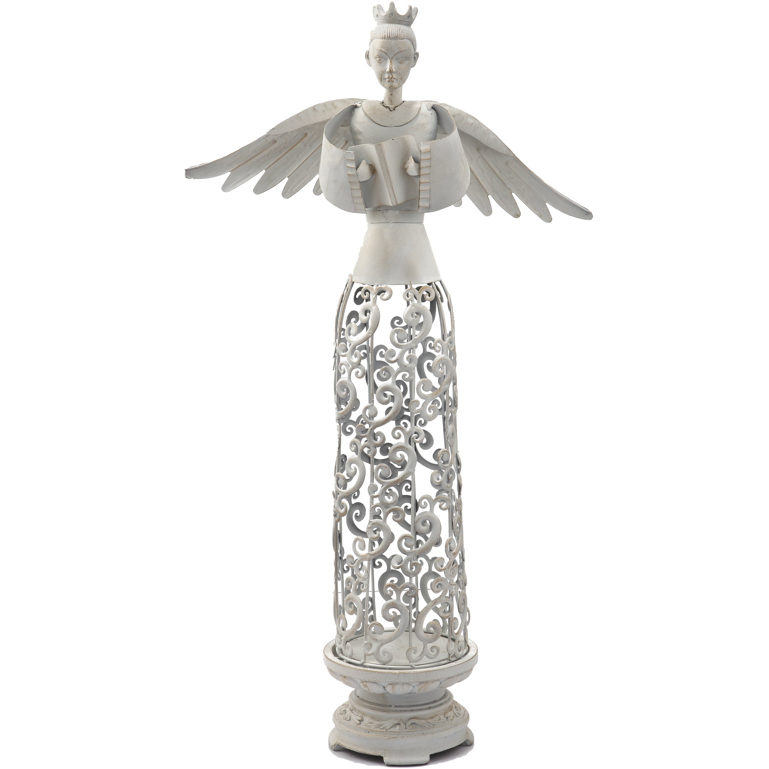 Angel 29-inch Candle Holder (Angel 6.3x6.3x29), Beige Off...