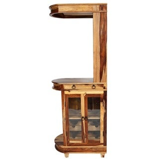 Porter Taos Solid Sheesham Tall Skinny Wine and Cocktail Bar Cabinet (India)