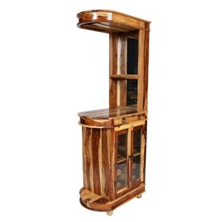 Porter Taos Sustainable Sheesham Tall Skinny Wine and Cocktail Bar Cabinet (India)