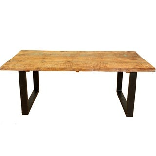 Handmade Wanderloot Distressed Paint Mango and Reclaimed Wood Dining Table with Industrial Black Metal Legs (