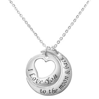 Queenberry Sterling Silver 'I Love You to the Moon & Back' Round Heart Dangle Charm Pendant Rolo Chain Necklace
