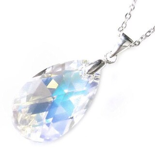 Queenberry Sterling Silver Crystal Element Teardrop Clear AB Pendant Chain Necklace