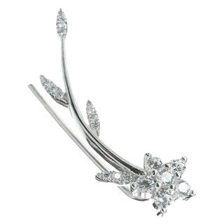 Queenberry Right Ear Rhodium Sterling Silver Flower Leaf Cubic Zirconia Ear Cuff Wrap Earring