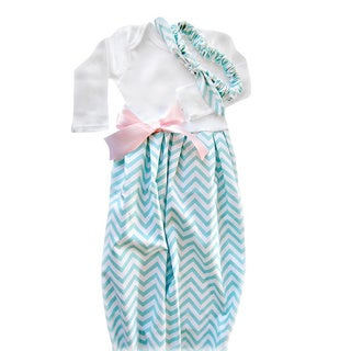 Baby Girl Layette Mint Chevron Coming Home Set