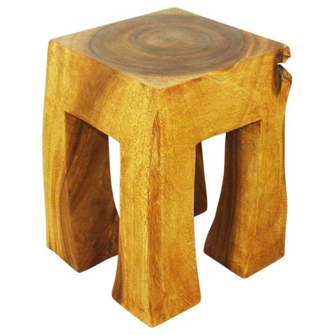 Handmade Blocky Oak Oil 13-inch Square Stool (Thailand)
