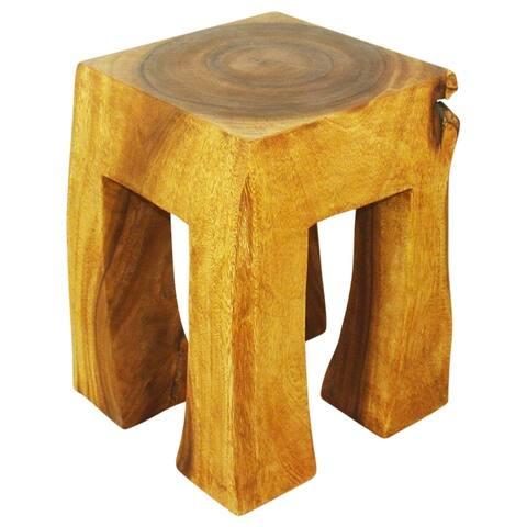 Haussmann Handmade Wood Blocky Stool 13 in SQ Top 15 in SQ Base x 19 in H Oak Oil
