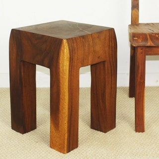 Blocky Straight Leg 13-inch Square Walnut Oil Stool (Thailand)