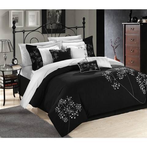 Porch & Den Phinney Embroidered Black 12-piece Comforter Set