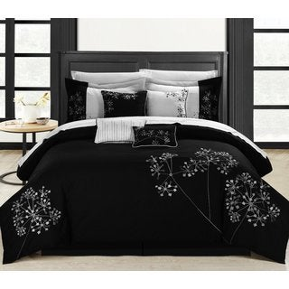 Chic Home Petunia 12-Piece Black/Grey Bed-in-a-Bag Embroidered Comforter Set