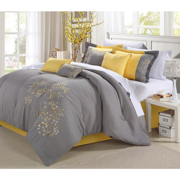 Oliver & James Shirin 12-piece Bed in a Bag Embroidered Comforter Set