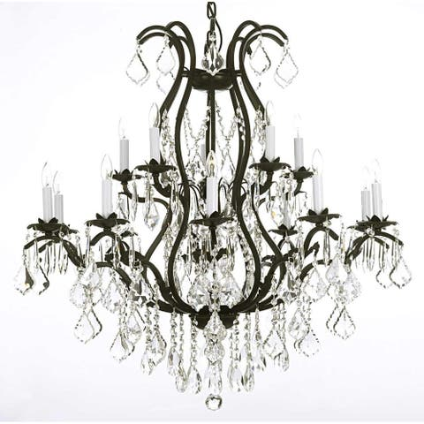 Gallery Lighting Black Wrought Iron and Clear Crystal 36 x 36-inch Chandelier Lighting