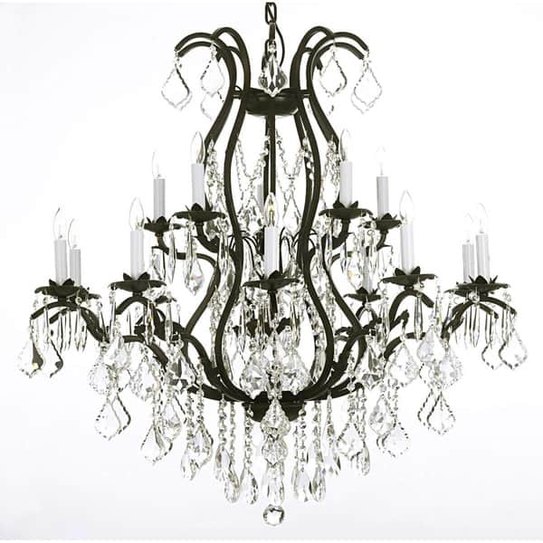Gallery Lighting Black Wrought Iron And Clear Crystal 36 X Inch Chandelier