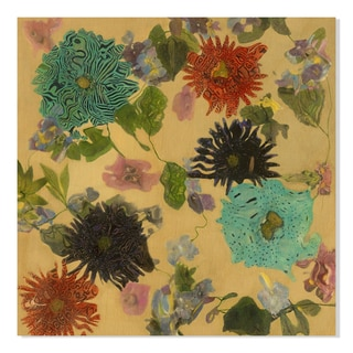 Gallery Direct Polly Norman Scattered Flora Print on Birchwood Wall Art