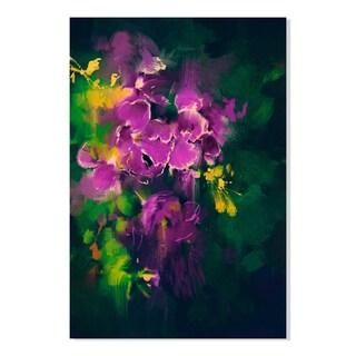 Gallery Direct Purple Flowers Print on Birchwood Wall Art