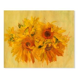 Gallery Direct Sunflowers Print on Birchwood Wall Art