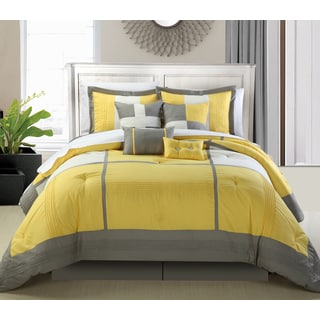 Porch & Den Montavilla Everett Yellow and Grey 8-piece Comforter Set