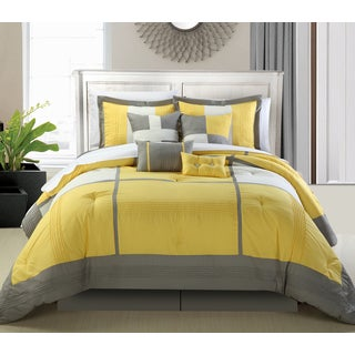 Porch & Den Montavilla Everett Yellow and Grey 8-piece Comforter Set