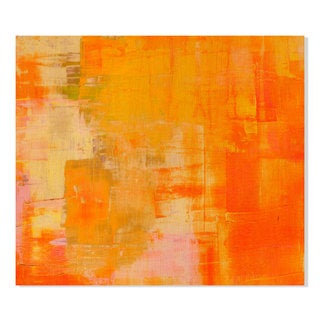 Gallery Direct Gold Orange Abstract Print on Birchwood Wall Art