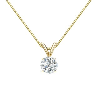 Auriya 14k Gold 1/2ct TDW Round-Cut Diamond Solitaire Necklace (3 options available)