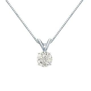 Auriya 14k Gold 1/2ct TDW Round-Cut Diamond Solitaire Necklace (J-K, I1-I2)