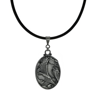 Handmade Jewelry by Dawn Unisex Soaring Eagle Leather Cord Necklace (USA) - Black
