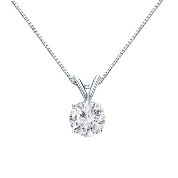 Auriya 3/4 carat TW Round Solitaire Diamond Necklace 14k Gold