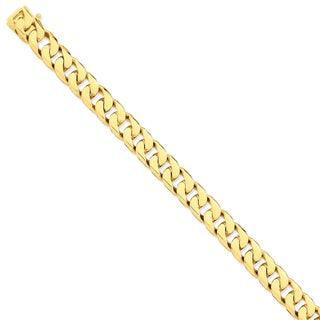 Versil 14 Karat Yellow Gold 11.2mm Hand-polished Flat Beveled Curb Chain