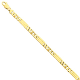 Versil 14k Yellow Gold 7mm Hand-polished Fancy Link Chain