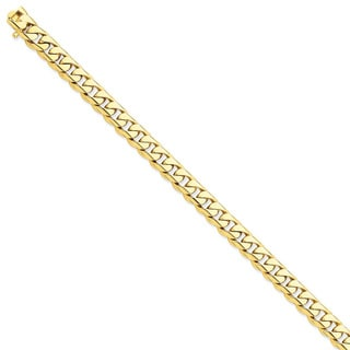 Versil 14k Yellow Gold 8.75mm Hand-polished Rounded Curb Chain