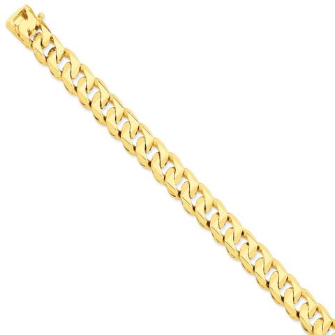 Versil 14 karat Yellow Gold 11mm Hand-polished Traditional Link Chain Bracelet