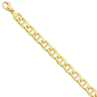 Versil 14k Yellow Gold 11mm Hand-polished Anchor Link Chain