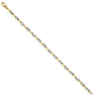 Versil 14k Yellow Gold Two-tone 3.5mm Fancy Link Chain