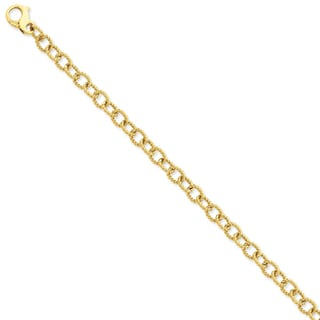 Versil 14k Yellow Gold 6.5mm Polished Fancy Link Chain