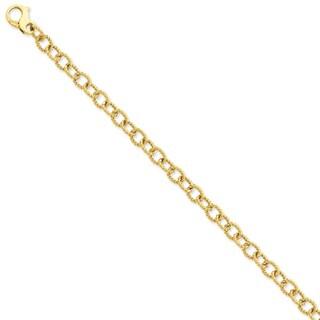 Versil 14 Karat Yellow Gold 6.5mm Polished Fancy Link Chain