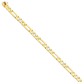 Versil 14k Yellow Gold 6mm Hand-polished Fancy Link Chain