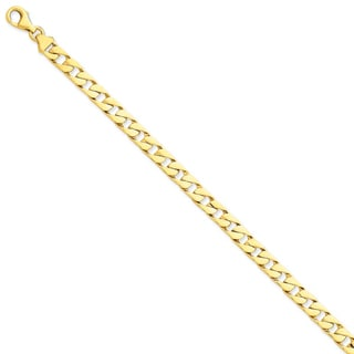 Versil 14k Yellow Gold 6.5mm Hand-polished Fancy Link Chain