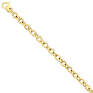 Versil 14k Yellow Gold 7.5mm Polished Fancy Link Chain