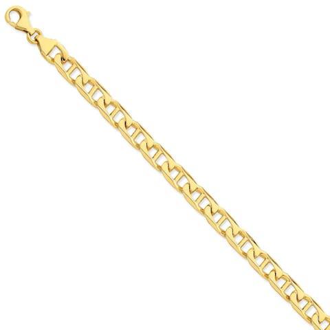 Versil 14 Karat Yellow Gold 8.5mm Hand-polished Anchor Link Chain Bracelet